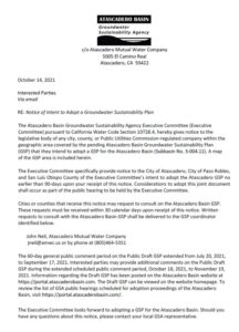 Notice of Intent to Adopt a Groundwater Sustainability Plan
